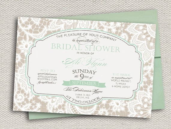Elegant Lace Bridal Shower Invitation // Greige &  Aqua Mint Sea Foam Green