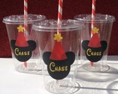 Set of 12 - Personalized Mickey Mouse Party Cups w/ Lids & Straws, Minnie Mouse Party Decor, Mickey Mouse Party Cups, Mickey Decor