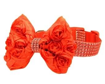 Red Rhinestone Dog Collar Bow Set, Dog Collar Bow: Red Rhinestone with Rosette Bow