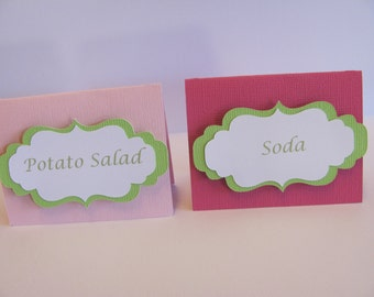 Set of 12 Food Labels, Buffet Food Labels, Bridal Shower decorations, Baby Shower Decorations, Birthday Party Decorations