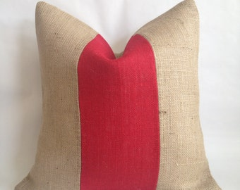 Red Burlap and Natural Burlap Pillow Cover