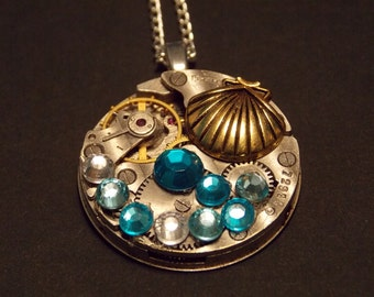 Gold Seashell Watch Movement Necklace