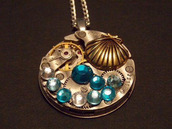 Gold Seashell Watch Movement Necklace by cmarie59405 steampunk buy now online