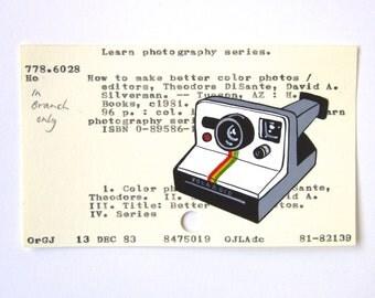 Polaroid Library Card Art - Print of my painting of a Polaroid camera on a library card catalog card