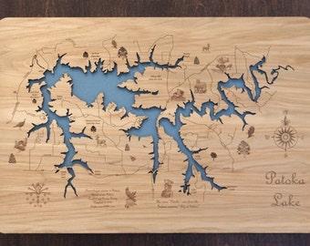 Lake Patoka Indiana wood laser engraved lake map wall hanging Laser Cut Map