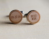 Roman best man engraved wood or acrylic cuff links