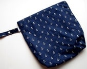 Wet /Dry Bag with Snap Handle - Waterproof Zipper Bag Navy Anchors