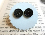 Coraline Black Button Earrings 10mm Four Holes