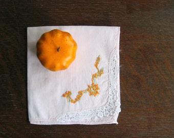 Vintage Embroidered Handkerchief, Shabby Pink, Vintage Linens, Vintage Hankies, Cotton Hankies, For Her, Pink Hankies, Stocking Stuffer