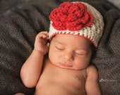 Baby Girl Crochet Flower Hat, Toddler Girl Hat, Cream and Red