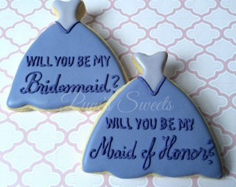 Will You Be My Bridesmaid?  Decorated Cookies
