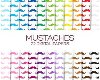 Mustaches Digital Paper Pack - Scrapbook Printable Party Background - Rainbow High Resolution Paper - P00145