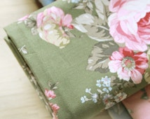 "Cotton Fabric Roses - Green - 44"" Wide - By the Yard 44699"