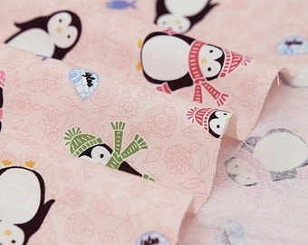 Cotton Fabric - Cute Penguins - Fanta - By the Yard 48297