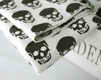 "Skulls Cotton Canvas Fabric on White Ivory By the Yard - Wide (60 x 36"") 77360"