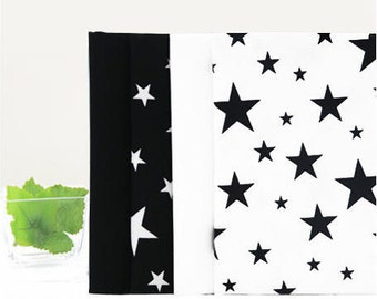 Fat Quarters Bundle Cotton Fabric - Black and White Stars on Oxford - Set of Four - 58875