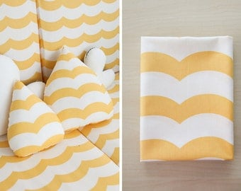 Yellow Wavy Lines Cotton Fabric - By the Yard 61455