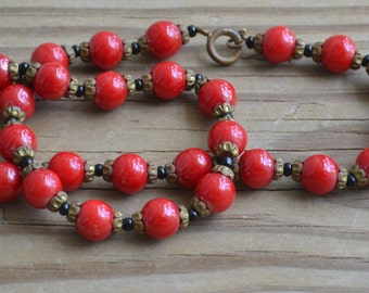 BIG RED Amazing antique 20s art deco coral red gatsby flapper czech glass necklace with black and brass floral accents