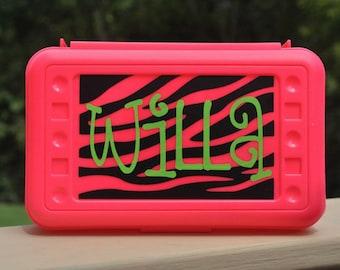 Personalized Zebra Print Pencil Box Art Box Crayon Box School Box -- Free Shipping in USA