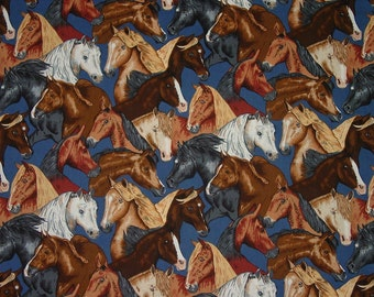 Real McCOY MUSTANG Horse Heads Blue Horse Equestrian Fabric Robert Kaufman New