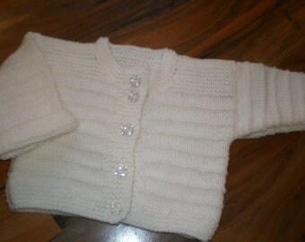 sweet little white hand knitted baby cardigan 3-6 month