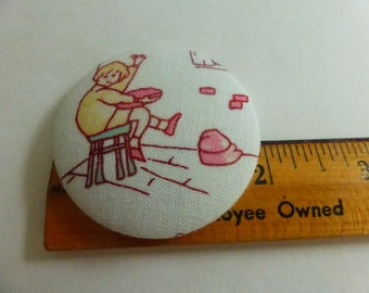 1 7/8  Inch Fabric Covered Studio Button Nursery Rhyme Little Jack Horner