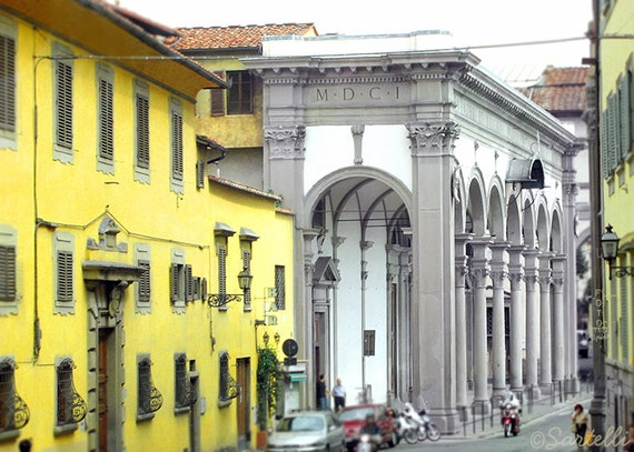 Yellow Buildings at Basilica della Santissima Annunziata - Florence, Tuscany, Italy - Architecture Urban Street Travel Photography Print 5x7
