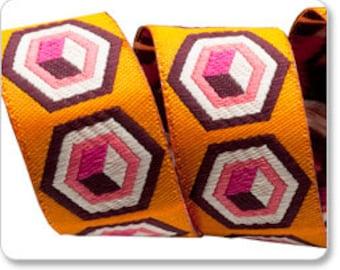 "TULA PINK 7/8"" ribbon--Pink on Orange Hex Box--price is per yard"