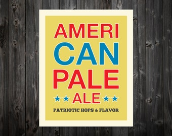 American Pale Ale, America, Beer, USA, Pale Ale, Beer Print, Beer Art, Home Decor, Retro Beer Print, America Decor, Beer Sign, Beer Poster