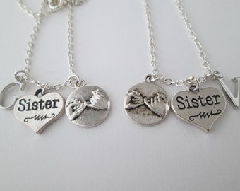 2 Sister and Pinky Promise, Initial BFF Necklaces