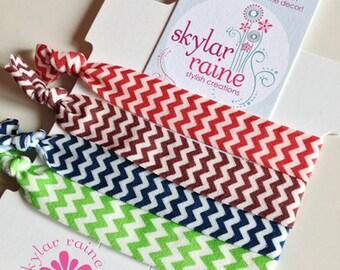 HAIR TIES - 4-Pack Chevron Elastic Hair Ties/Bracelets - Elastic Hair Ties
