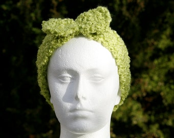Lime green retro headband / ear warmer