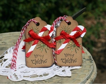 Christmas Gift Tags - Set of 6 Holiday gift tags with twine - Merry Christmas - Candy Cane with bow