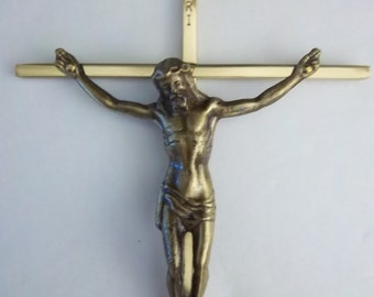 Brass Crucifix Wall Hanging Vintage Religious Home Decor
