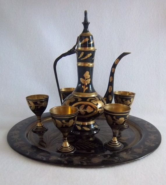 Turkish Coffee Set Morocco Middle Eastern Moroccan Mid Century