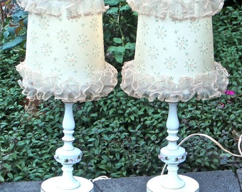 Cottage Chic Accent Lamps with Flowers and Lace Shades, Mid Century Matching Feminine Frills Accent Lamps