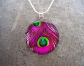 Peacock Feather Jewelry - Glass Pendant Necklace - Peacock 23