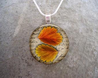 Autumn jewelry - Glass Pendant Necklace - Autumn Leaves 5