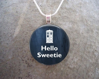 Doctor Who Jewelry - Glass Pendant Necklace - Hello Sweetie