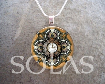 Steampunk Necklace - Glass Pendant Jewelry - Steampunk 1-1