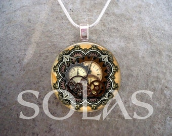 Steampunk Necklace - Glass Pendant Jewelry - Steampunk 1-15 - PRE-ORDER