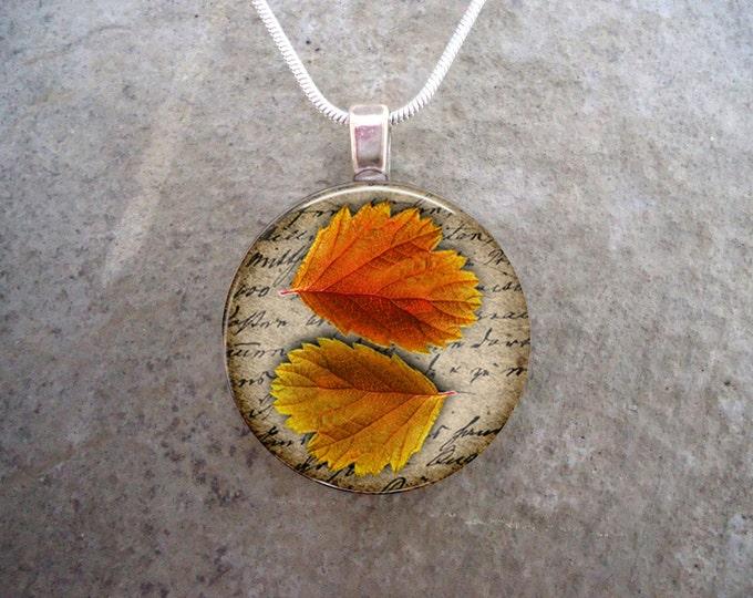 Autumn jewelry - Glass Pendant Necklace - Autumn Leaves 5 - RETIRING 2017