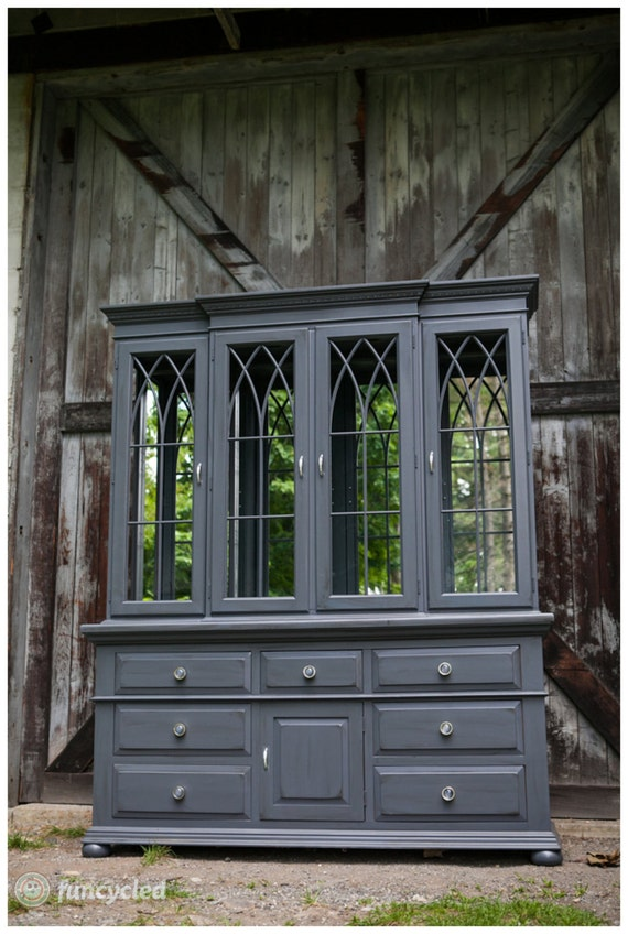Slate Grey Large Hutch With Mirrored Back
