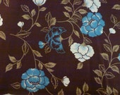 2 1/2 Yards So-Fro Original Quilt Cotton Fabric  Blue and White Floral Design on Chocolate Brown Background