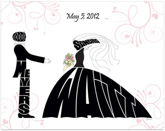 "Personalized Wedding Gift, 14"" x 11"" Wedding Portrait, Name Art, Silhouette"