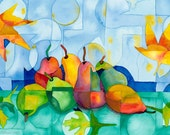 ORIGINAL WATERCOLOR PAINTING, pears and fall leaves, stained glass, modern art, fruit Kitchen Art