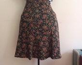 Vintage Skater Skirt / Citrus Colored Ditzy Floral Print Skirt / Mini Dress / Boho / Festival - 1970s