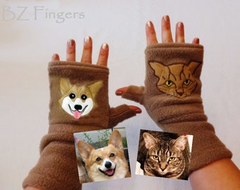 Personalized Two Pets Gift. Fingerless Gloves with Pockets for Pet Lovers.