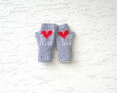 Childrens mittens, teenage fingerless gloves in gray with red heart, gift for her, gift for kids, kids clothing