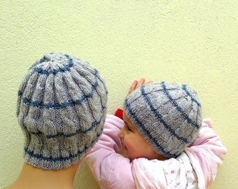 Knitted mother daughter hat, father son hat, cable knit baby beanie, in grey, blue striped, new mom new dad gift, new born gift